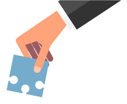 business person hand with jigsaw